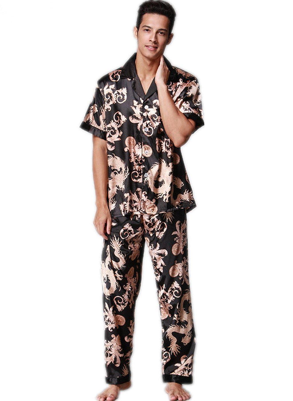 VERNASSA Mens Short Sleeves Sleepwear Silk Satin Pajama Set Pajama Shirt and Pant Satin Loungewear VE0282
