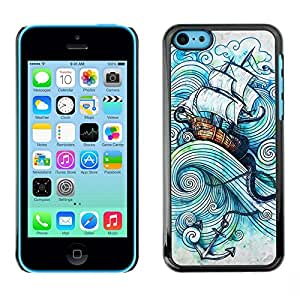 Planetar® ( Ship Sea Anchor Sails Kraken Boat Storm ) iPhone 5C Fundas Cover Cubre Hard Case Cover