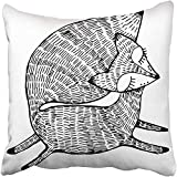 Staropor Throw Pillow Cover 18''X18'' Polyester Orange Fox Forest Animals Cute Line Black and White Drawing Graphic Arts Tattoo Red Decorative Pillowcase Two Sides Deco for Home
