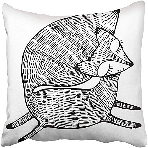 Staropor Throw Pillow Cover 18''X18'' Polyester Orange Fox Forest Animals Cute Line Black and White Drawing Graphic Arts Tattoo Red Decorative Pillowcase Two Sides Deco for Home by Staropor