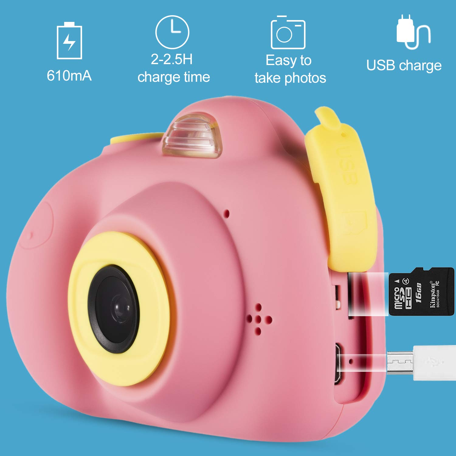 omzer Gift Kids Camera Toys for Girls, Cute Children Cameras Mini Camcorder for 3-8 Years Old Girl with 8MP HD Video Lens Great for Shooting, Deep Pink(16GB Memory Card Included) by omzer (Image #3)