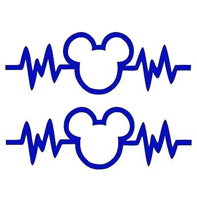 "Signage Cafe Mickey Mouse Heartbeat 2PK - Car Truck Vinyl Decal Art Wall Sticker Disney Fun Adorable Cute Life (Dark Blue, 6""): Automotive"