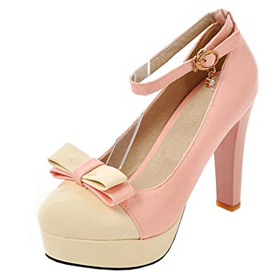 Agodor Damen Mary Jane Blockabsatz Pumps mit Schnalle High Heels Lack Rockabilly Schuhe