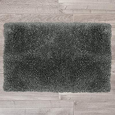 """Nestl Bedding Medium Shaggy Rug with Non-Slip Rubber Backing – Machine Washable Super Soft Microfiber Rug – Plush Absorbent Bath Rug - 20""""x32"""", Gray - MEDIUM SIZE PLUSH ABSORBENT BATH RUG: Measures 20"""" x 32"""". Includes 1 medium size shaggy bath mat. Say goodbye to soggy bathroom rugs that stay damp for ages! Our extra absorbent bath rug is made of 100% microfiber with super soft pile that absorbs water rapidly, keeping you warm and dry and protecting your floors from moisture. Your toes will thank you when they sink into the cushioned depths of our plus, shaggy bathroom rug! IRRESISTIBLE COMFORT & LUXURY: Pamper your feet with indescribable softness when you step onto the Nestl Shaggy Rug. Keep it near the bathroom sink so frosty toes stay warm and comfortable while you get ready in the morning, or place it near the bath or shower so you can safely step from the warm water to plush, soft comfort. You can even put it near the kitchen sink to keep your feet happy while you wash dishes! Use this cozy rug in every room of your home, from the bedroom to the living room! NON-SLIP RUBBER BACKING: Our rug features built-in rubber backing with a powerful grip to prevent slipping or skidding. Made with 100% environmental Thermoplastic, the rubber backing is non-toxic, anti-skid and will stay in place, providing protection from the dangers of skidding or slipping. Perfect for placing near a bathtub, recliner or bed so you don't slip when you get up, non-slip rugs are ideal for children, adults and seniors and a must-have item for every household! - bathroom-linens, bathroom, bath-mats - 61ZwvbgTINL. SS400  -"""