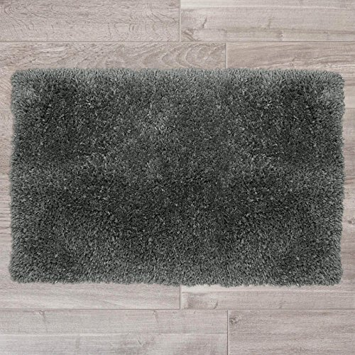 "Nestl Bedding Shaggy Bath Rug with Non-Slip Backing Rubber - Super Soft Bathroom Shower Bath Tub Rug made of Luxury Microfiber, Machine Washable, Plush Cozy Mat, Small 17""x24"" - Gray"