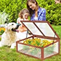 Giantex Garden Portable Wooden Cold Frame Greenhouse Raised Flower Planter Protection from Giantex