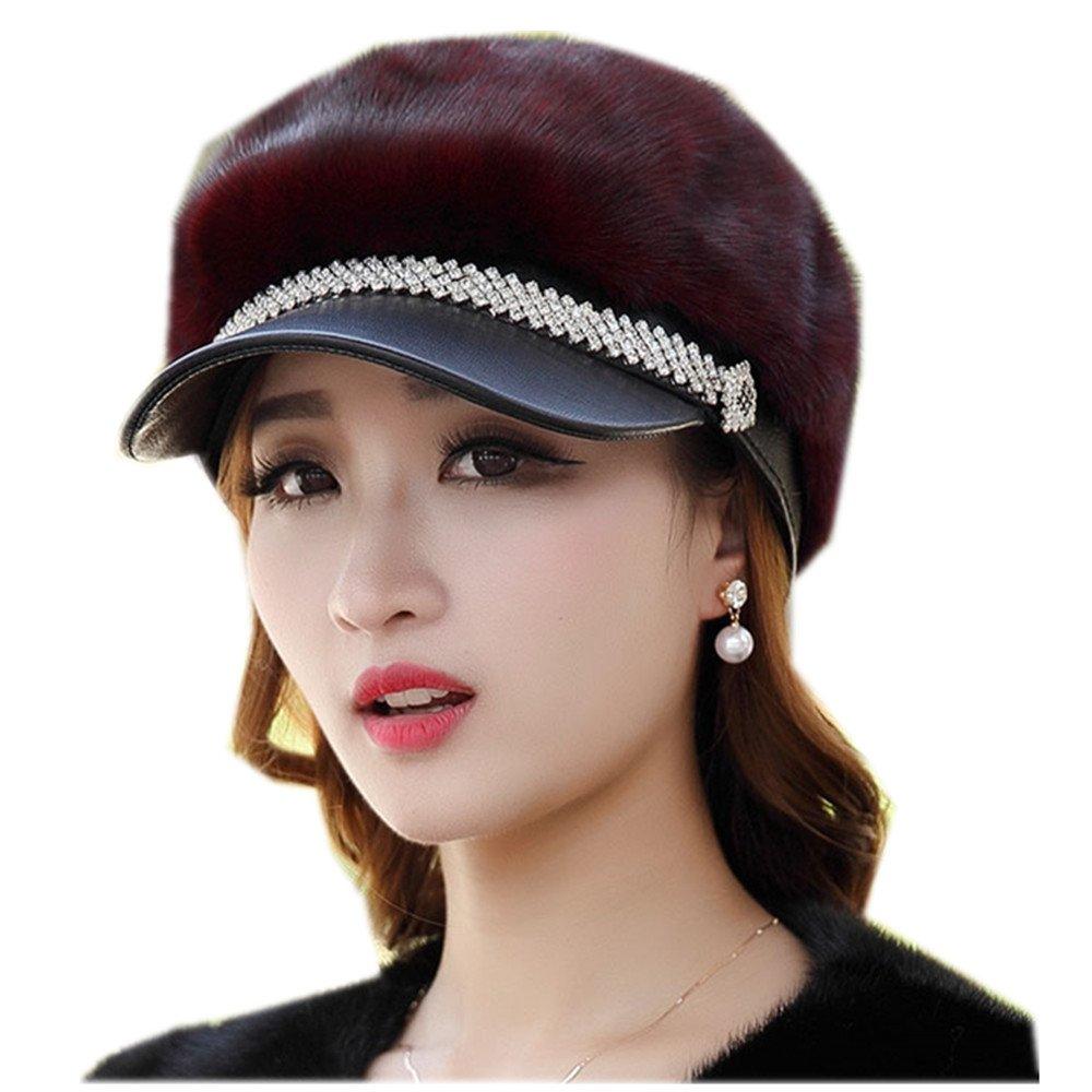 MH Bailment New Mink Fur Winter Korean Outdoor Fur Ladies Mink Hat Duck Tongue (57CM, RED Wine)