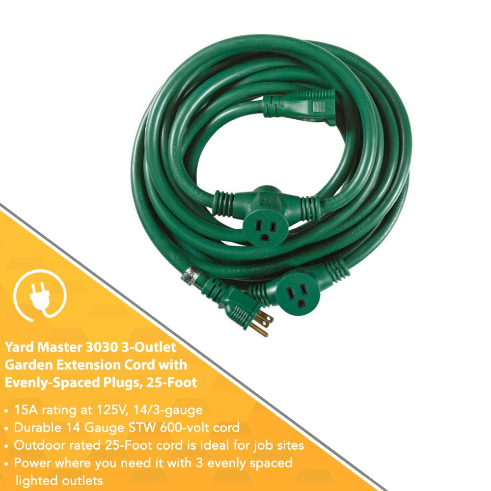 Yard Master Outdoor Extension Cord with Evenly-Spaced Plugs And 3 ...