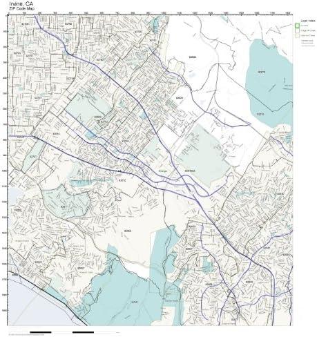 Amazon.com: Working Maps Zip Code Wall Map of Irvine, CA Zip ...