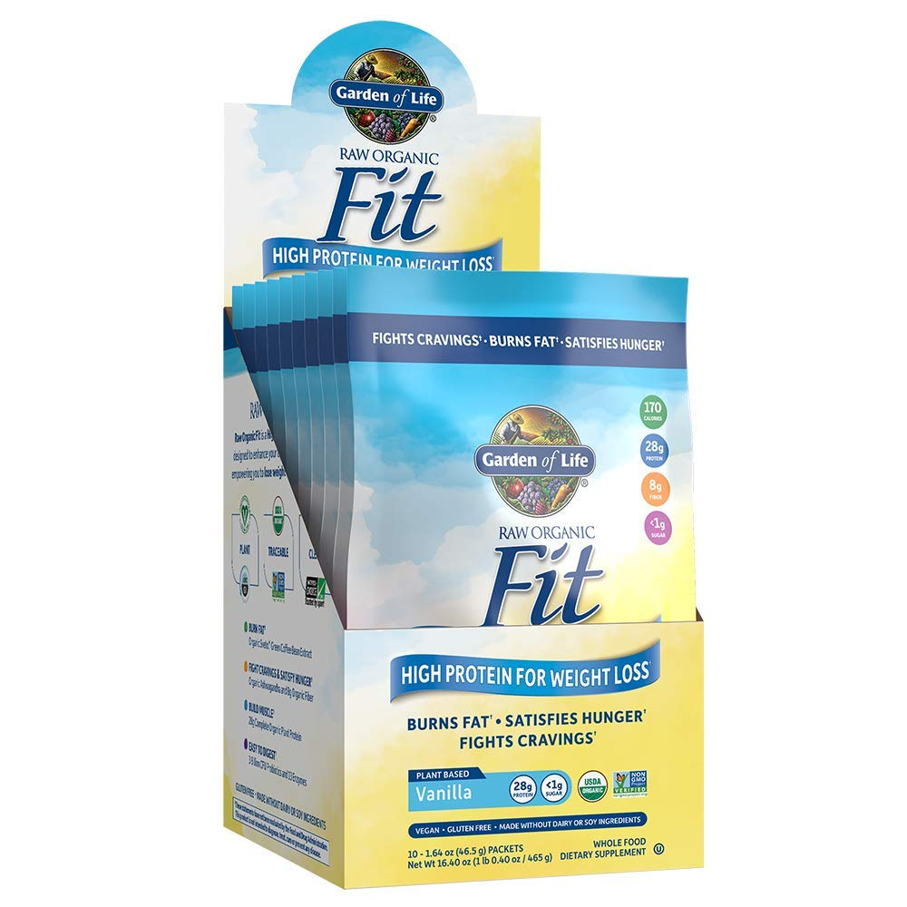 Garden of Life Meal Replacement - Raw Organic Fit Powder, Vanilla - High Protein for Weight Loss (28g) plus Fiber & Probiotics, Organic & Non-GMO Vegan Nutritional Shake, Packets (10 Count Tray)