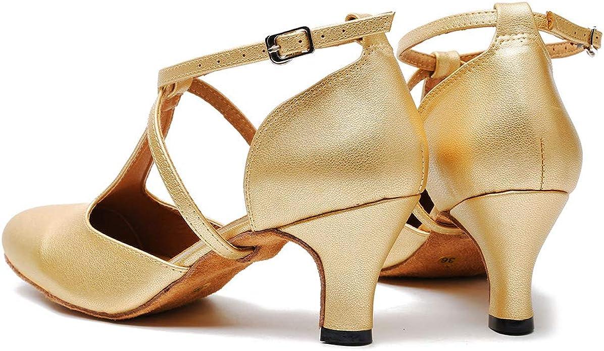 TINRYMX Zapatos Baile Latino Mujer Cerrados para Salsa Vals Tango Zapatos de Baile de Sal/ón,YCL117