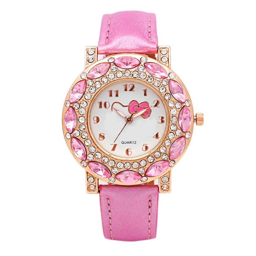 6bed165d16 Amazon.com  Kids Watches Girls Wrist Watches Quartz Fashion Watch Cute Hello  Kitty Steel 3 Colors Pretty Birthday Gift Enrollment Graduation (Pink)   Health ...