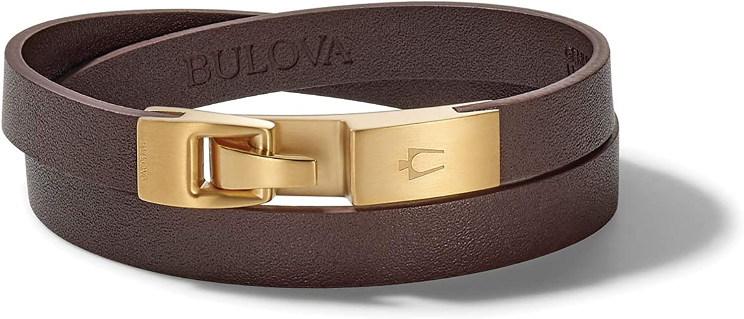 Bulova Mens Classic Bracelet with Brushed Gold Stainless Steel Hook: Jewelry
