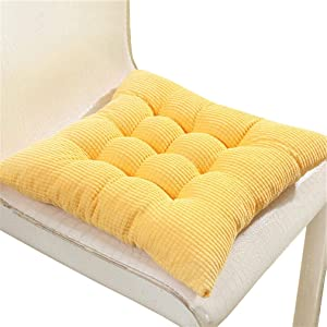 JK Home 40x40cm Soft Chair Pad Multifunction Seat Cushion Corduroy Office Chairs Pads Back Pillow Home Decoration Yellow