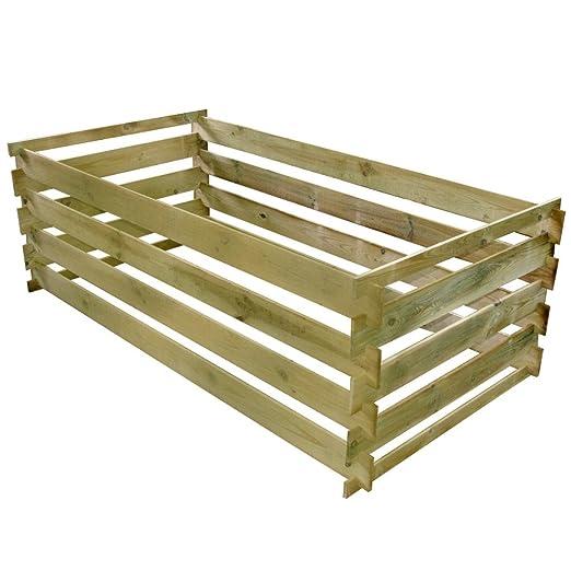 Anself compostador compostador de madera con ranuras Sistema ...