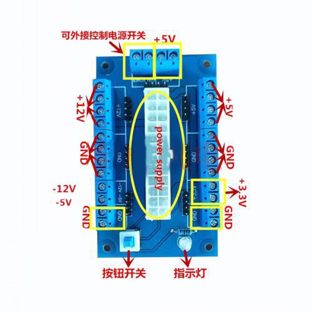 Almencla Electronics-Salon Rail DIN 24//20-pins ATX DC Power Supply Breakout Board Module