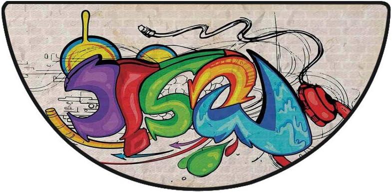 36 x 72 Half Round Door Mat,Heart Figures Lovers Famous Symbol Universal Sign Symbolic Design Outdoor//Indoor Entry Rug,for Home Kitchen Office Standing Desk Mats,Jade Green Seafoam Cream