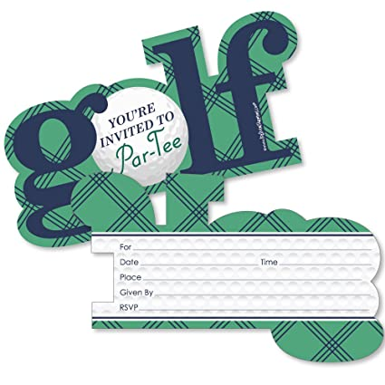 Par Tee Time Golf Shaped Fill In Invitations Birthday Or Retirement Party Invitation Cards With Envelopes Set Of 12