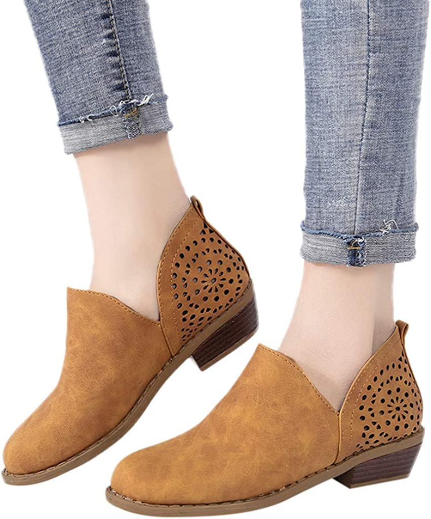 Sunmoot 2019 Newest Flat Slip Ons Shoes for Women Hollow Square Heels Round Toe Casual Suede Ankle Boots Brown