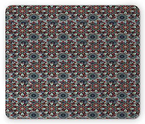 Elements Ottoman (Vintage Mouse Pad by Ambesonne, Arabic Ottoman Style Motifs Folkloric Nature Inspired Elements Native Floral Art, Standard Size Rectangle Non-Slip Rubber Mousepad, Multicolor)
