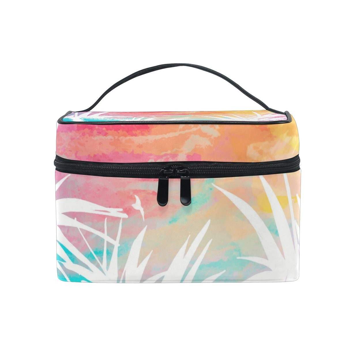 SAVSV Travel Makeup Bags With Zipper Colored Palm Trees Cosmetic Bag Toiletry Bags Train Cases Storage Bags Portable Multifunction Case for Women Girls
