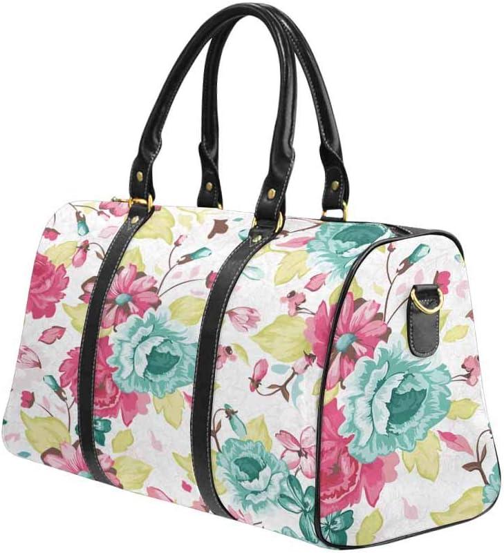 InterestPrint Large Duffel Bag Flight Bag Gym Bag Elegance Floral Pink