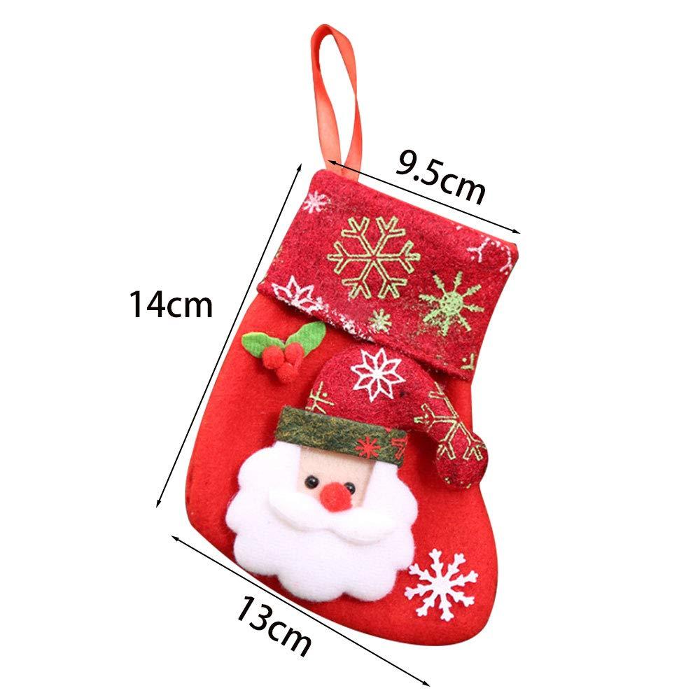 Gudotra 12pcs Medias Calcetines de Navidad Bolsas De Mesa Decoraciones para Arbol de Navidad Dulces Santa Claus Muñeco de Nieve Elk Oso: Amazon.es: Hogar