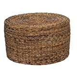 Contemporary Round Woven Rattan Coffee Table in Brown Finish - Includes Modhaus Living Pen