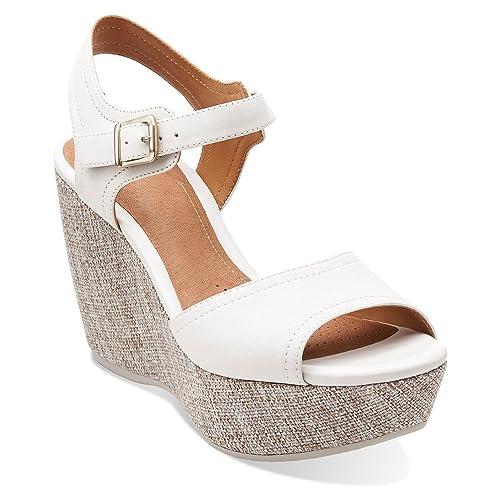 5d1b970e4549 CLARKS Women s Nadene Lola White Leather Sandal 9.5 B ...