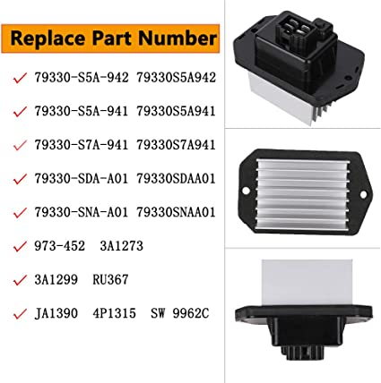 Replaces 79330-S5A-942 79330-SNA-A01 ELEMENT CR-V 79330-SDA-A01 Compatible with Honda Acura Vehicles Accord Civic HVAC Blower Motor Resistor RDX TSX