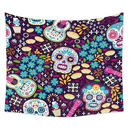 tidy decor Skulls Decorations Tapestry Wall Hanging by, Skull with Roses Day of the Dead Sign Horror Mexican Traditional Art Print, Bedroom Living Room Dorm Decor, 60 W X 51 L Inches by tidy decor