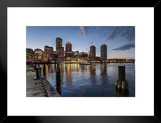 Poster Foundry Boston Massachusetts Skyline Across Harbor Photo Art Print Matted Framed Wall Art 26×20 inch