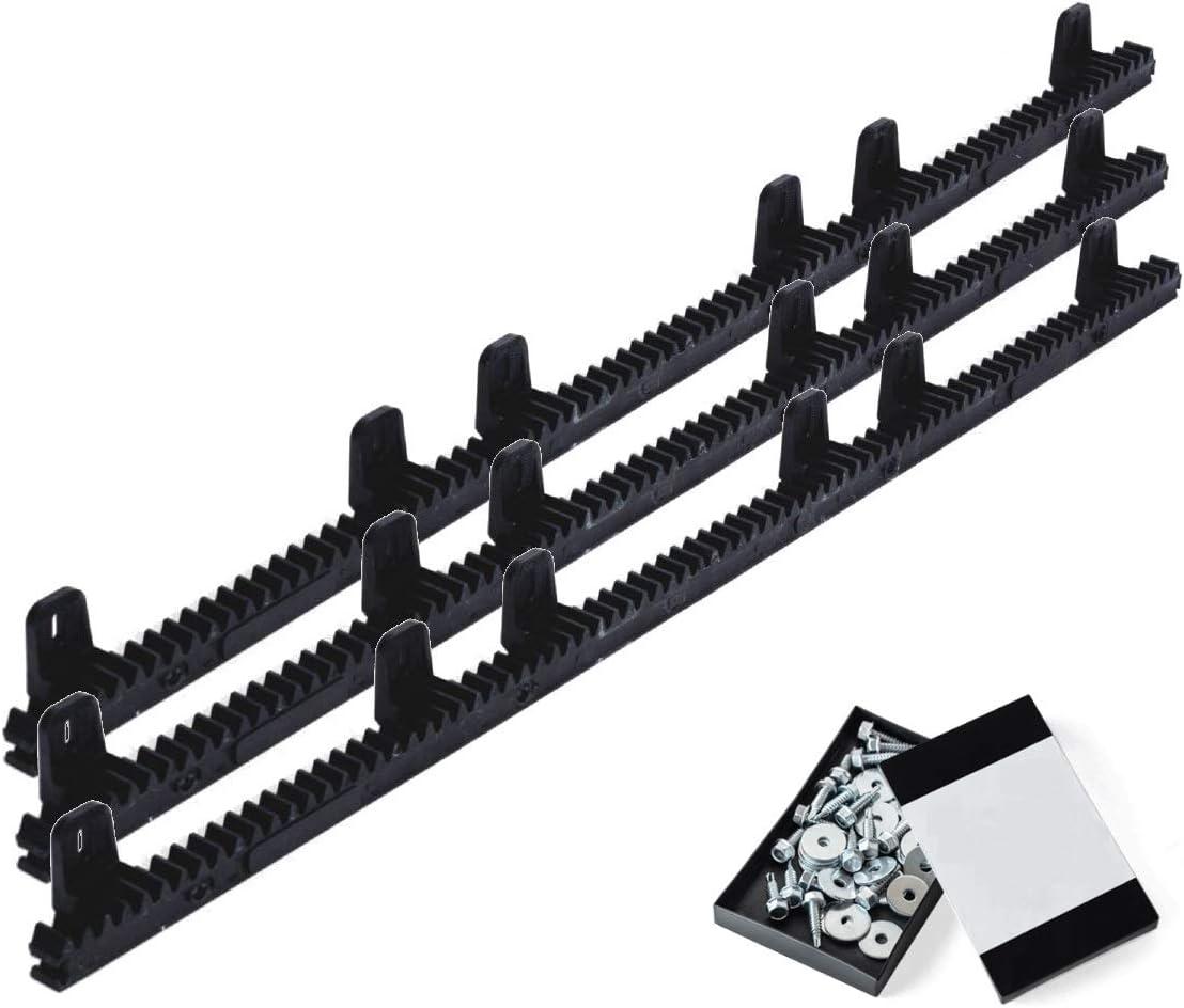 Pack cremallera nylon estandar para motor corredera, compatible con cualquier motor del mercado, alta calidad, interior en acero reforzado, con tornillos de fijación. (3 METROS)