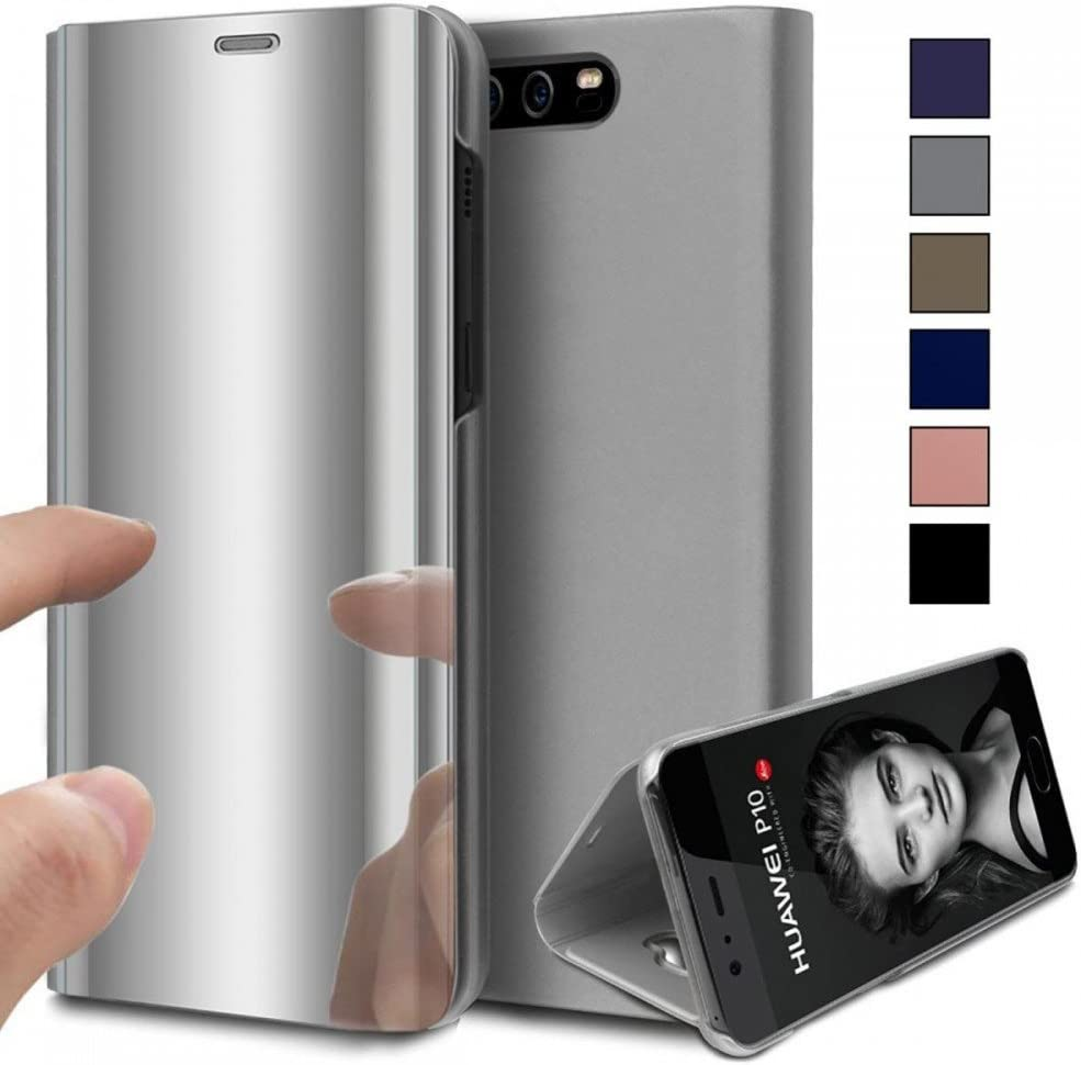 COOVY® Funda para Huawei P10 + Plus Aspecto metálico, armazón, Lujosa, Ventana de Espejo Transparente, visión Clara, Soporte | Color Lata: Amazon.es: Electrónica