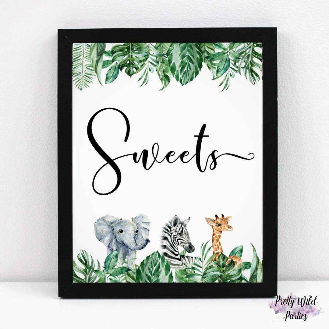 3 Pc Safari Party Table Sign Set Party Favors Gifts /& Sweets Table Signs 8 x 10 Table Signs