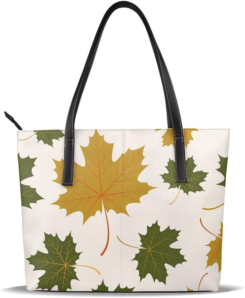Maple Leaves Branch Green Tote Bag Purse Handbag For Women Girls