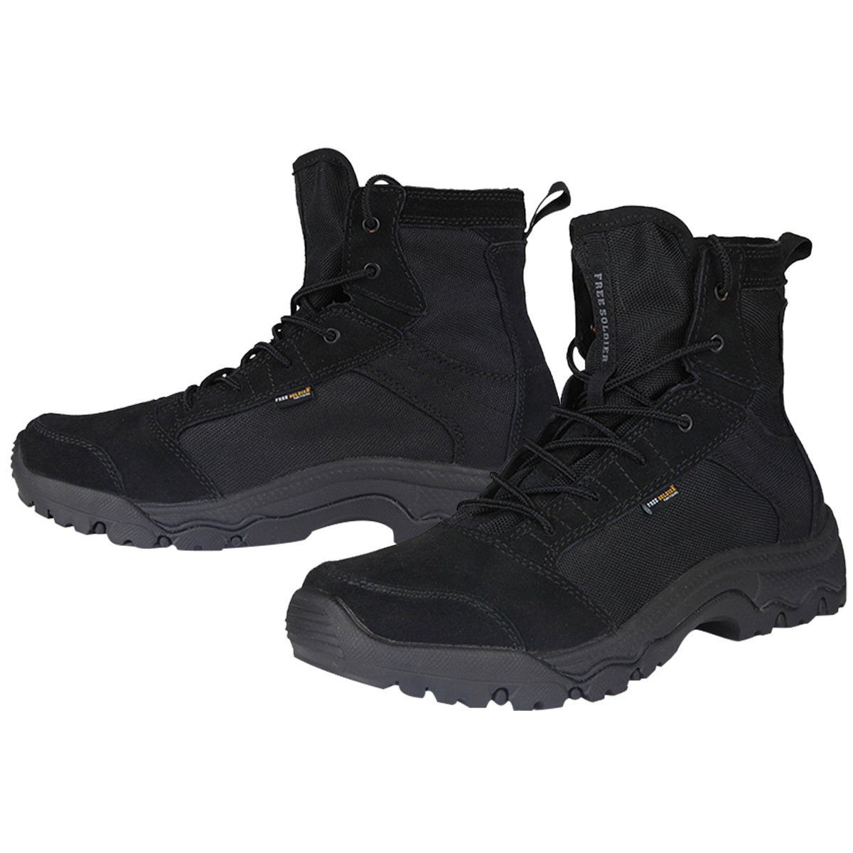 FREE SOLDIER Desert Boots Lightweight Lace up Jungle Boots Military Breathable Shoes Suede Leather Tactical Boots(Black 12)