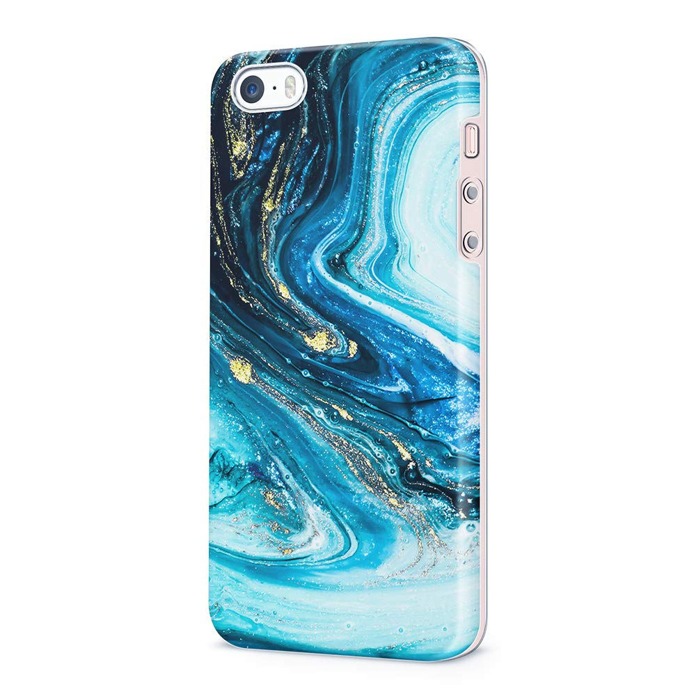 uCOLOR Case Compatible with iPhone 5S/5/SE Cute Protective Case Turquoise Blue Gold Marble Slim Soft TPU Silicon Shockproof Cover for iPhone SE/5S/5
