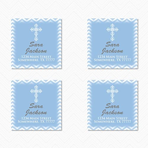 religious square printed return address label custom address labels cross chevron return address labels