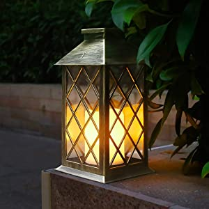 Outdoor Solar Lights Hanging Lanterns with LED Flickering Flameless Candles, Weatherproof Solar Powered Lanterns Decorative for Patio, Table, Backyard, Party and Garden Bronze
