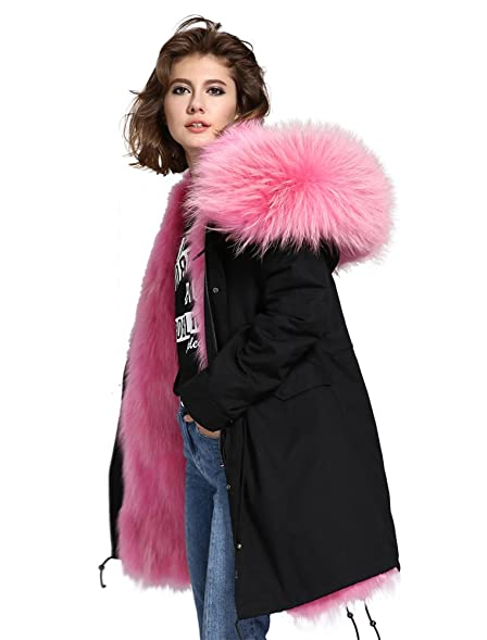 Melody Women's Large Raccoon Fur Collar Hooded Long Coat Parkas ...