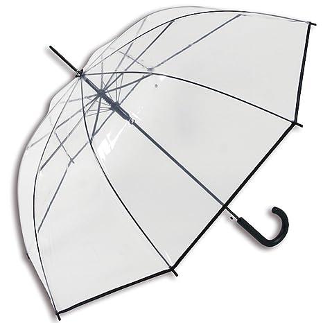 Paraguas transparente cúpula ribete negro