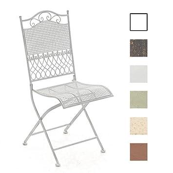CLP Chaise de Jardin Kiran Pliante en Fer Forgé - Chaise de Terrasse ou  Balcon - Hauteur de l\'Assise: 45 cm Fauteuil de Jardin Pliable Confortable  - ...