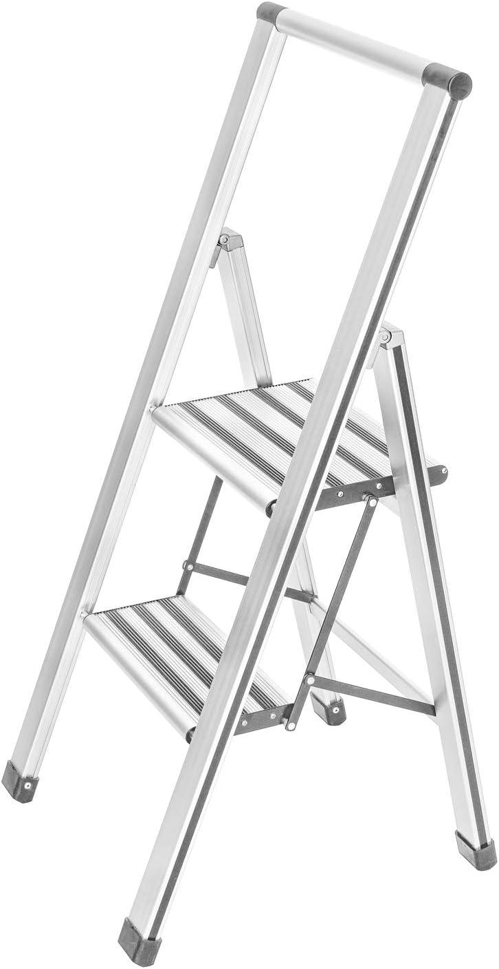 Wenko Escalera Plegable con 2peldaños, de Aluminio, Color Blanco/Gris, 44x 101x 5,5cm, 601015100