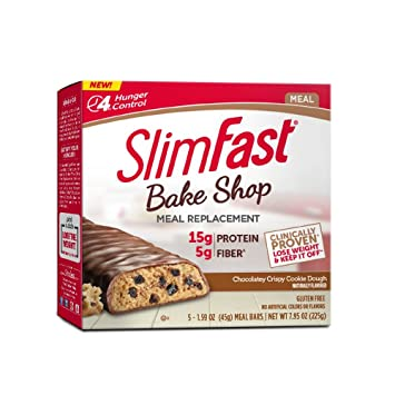 SlimFast Bakeshop Meal Replacement Bars - Chocolatey Crispy Cookie Dough  Bar, With 15g Of Protein