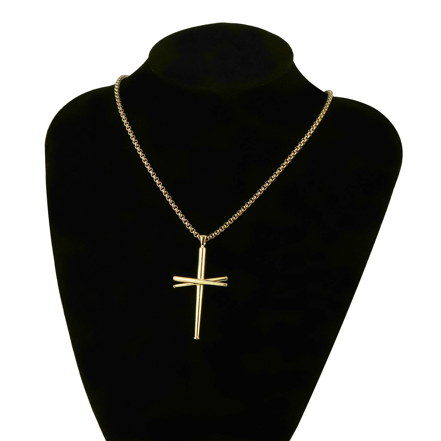 RMOYI Cross Necklace Baseball Bats Athletes Cross Pendant Chain,Sport Stainless Steel Cross Necklaces for Men Women Boys Girls,Large and Small Silver Black 18-24 Inches