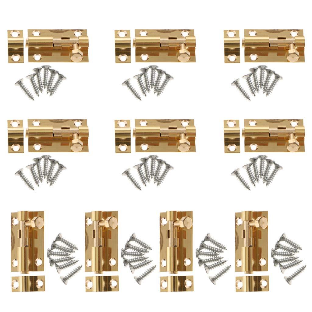 Flameer 10-Pack Brass Door Slide Catch Lock Bolt Latch Barrel Home Safety Hardware With Screws #1 1.5inch