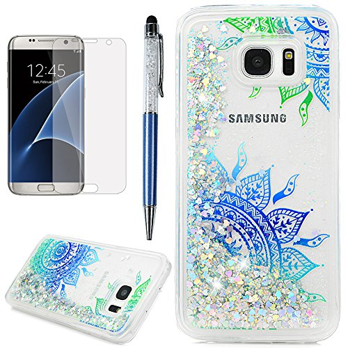 S7 Edge Case, Galaxy S7 Edge Case, Liquid Glitter Case Bling Sparkle Flowing Moving Love Hearts Cover Clear Slim Protective TPU Bumper with Screen Protector Pen ZSTVIVA - Blue Mandala Totem Flower]()