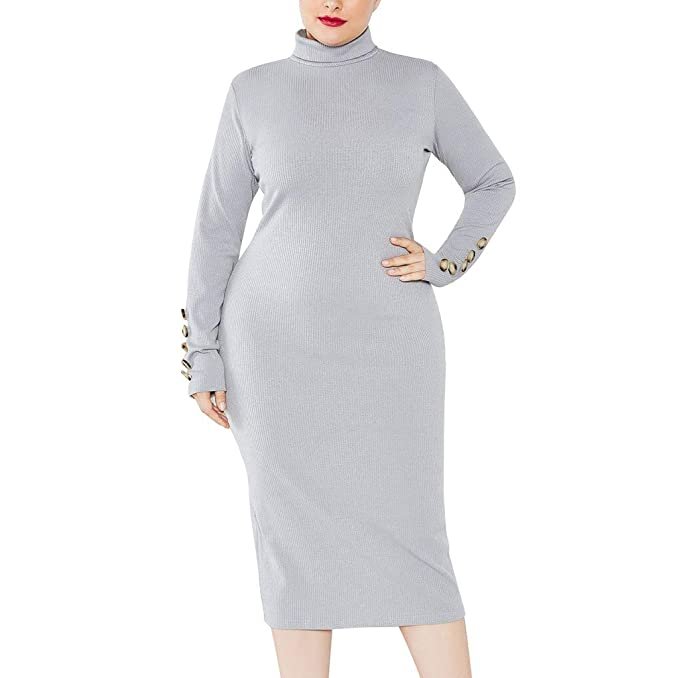 Chanyuhui Women Plus Size Dresses Solid Long Sleeve ...