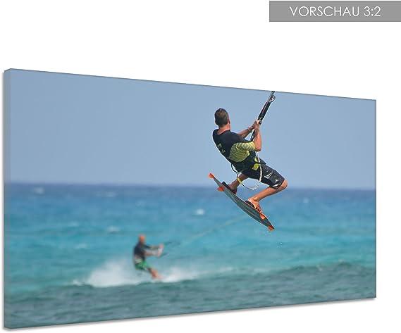 EAUZONE GmbH Frau auf Surfboard 220 x 70cm 3 Bilder je 70x70cm Bild XXL Panorama Deko Wandbilder auf Leinwand
